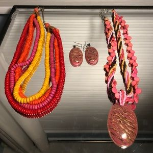 Chunky Colorful Jewelry Set (Necklaces & Earrings)